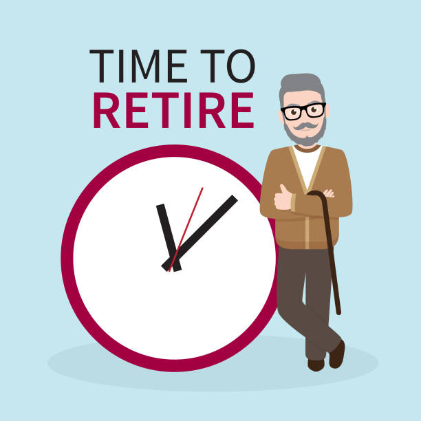 old hipster businessman with business concept time to retire. - old man standing background stock illustrations, clip art, cartoons, & icons
