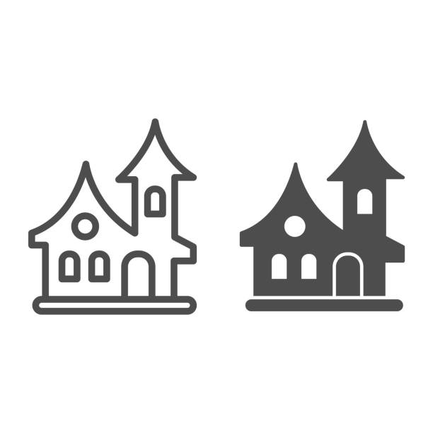 ilustrações de stock, clip art, desenhos animados e ícones de old house line and solid icon, halloween concept, witch house sign on white background, scary halloween house icon in outline style for mobile concept and web design. vector graphics. - isolated house, exterior