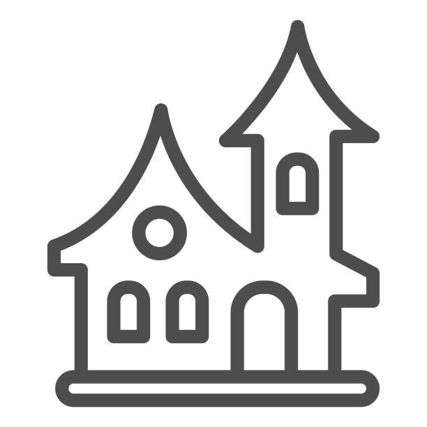 ilustrações de stock, clip art, desenhos animados e ícones de old house line icon, halloween concept, witch house sign on white background, scary halloween house icon in outline style for mobile concept and web design. vector graphics. - isolated house, exterior