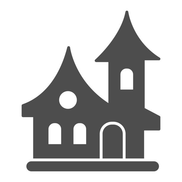 ilustrações de stock, clip art, desenhos animados e ícones de old house solid icon, halloween concept, witch house sign on white background, scary halloween house icon in glyph style for mobile concept and web design. vector graphics. - isolated house, exterior