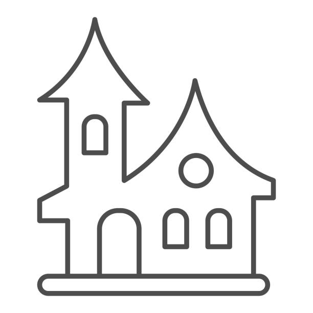 ilustrações de stock, clip art, desenhos animados e ícones de old house thin line icon, halloween concept, witch house sign on white background, scary halloween house icon in outline style for mobile concept and web design. vector graphics. - isolated house, exterior