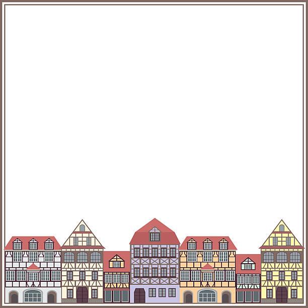 stockillustraties, clipart, cartoons en iconen met old houses frame - vakwerk