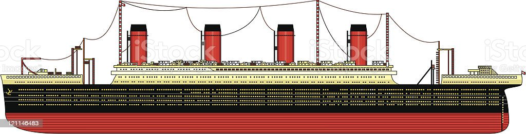 Old, huge, overseas ship vector art illustration