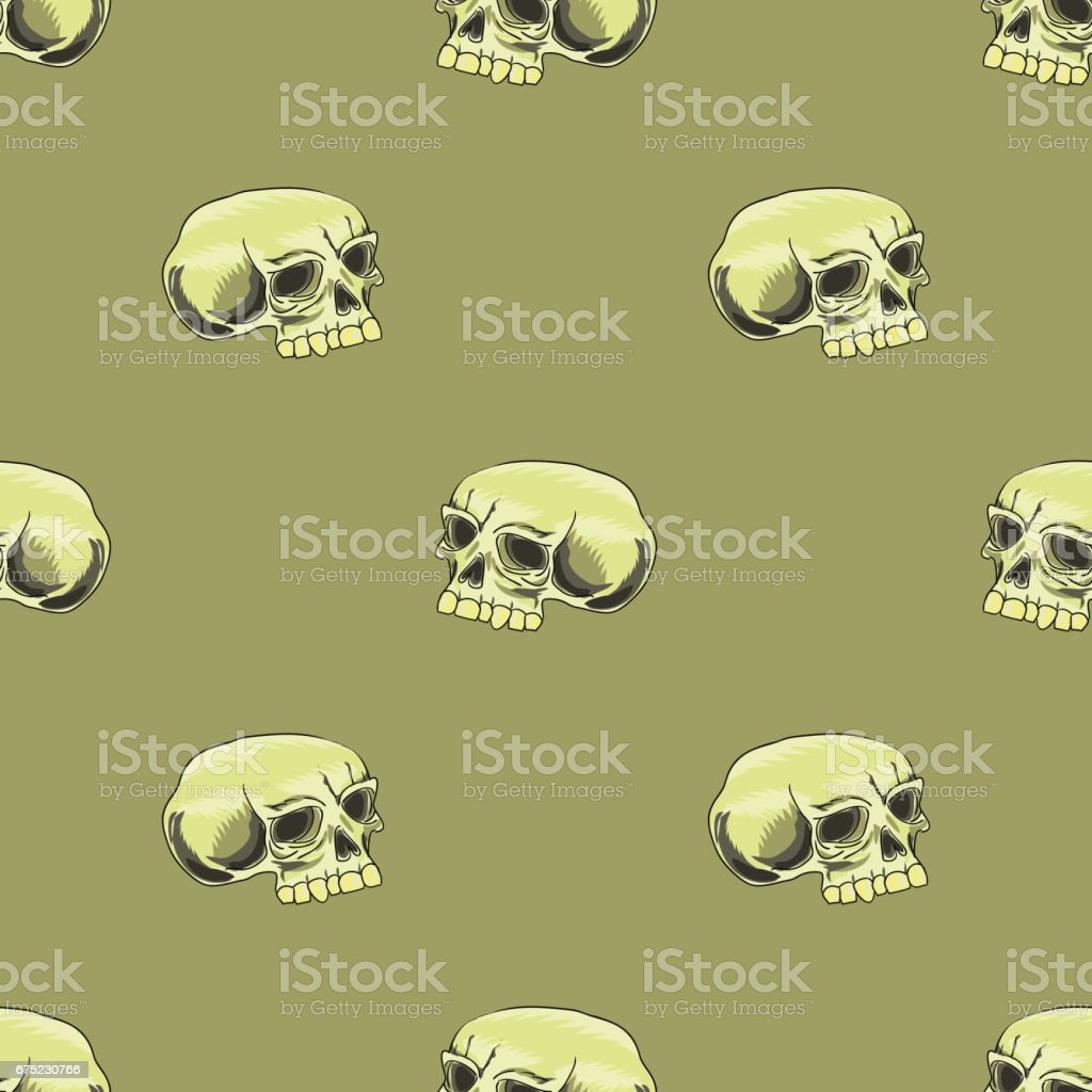 Old Human Skull Seamless Pattern royalty-free old human skull seamless pattern stock vector art & more images of anatomy
