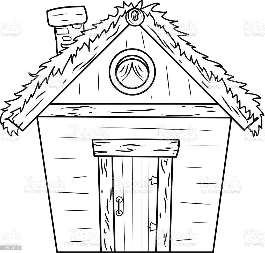 old hut vector art illustration