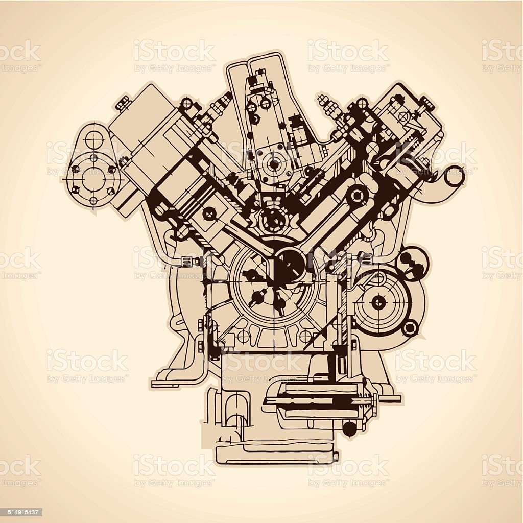 Old internal combustion engine, drawing. Vector vector art illustration