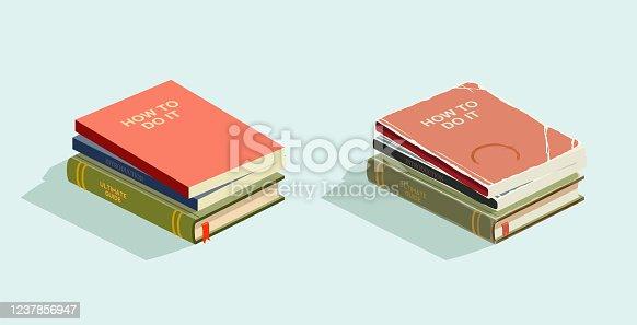 istock old isometric books 1237856947