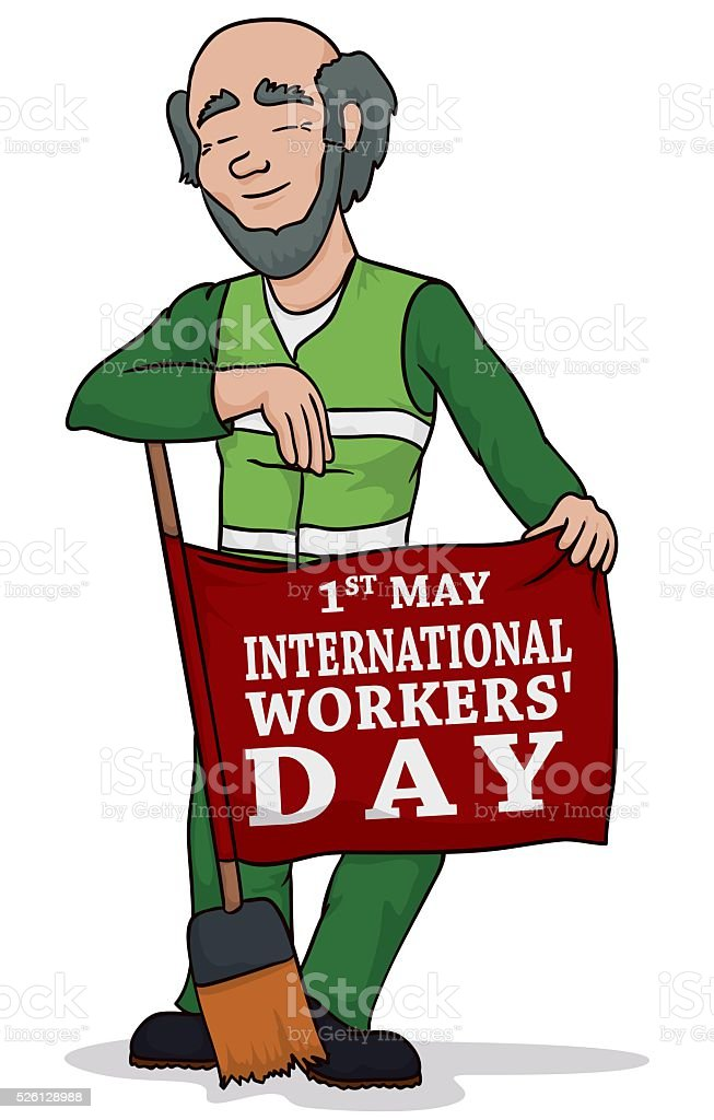 Old Janitor Posing on Workers' Day vector art illustration