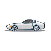 Old japan sport car icon. Side view. Vector illustration eps 10