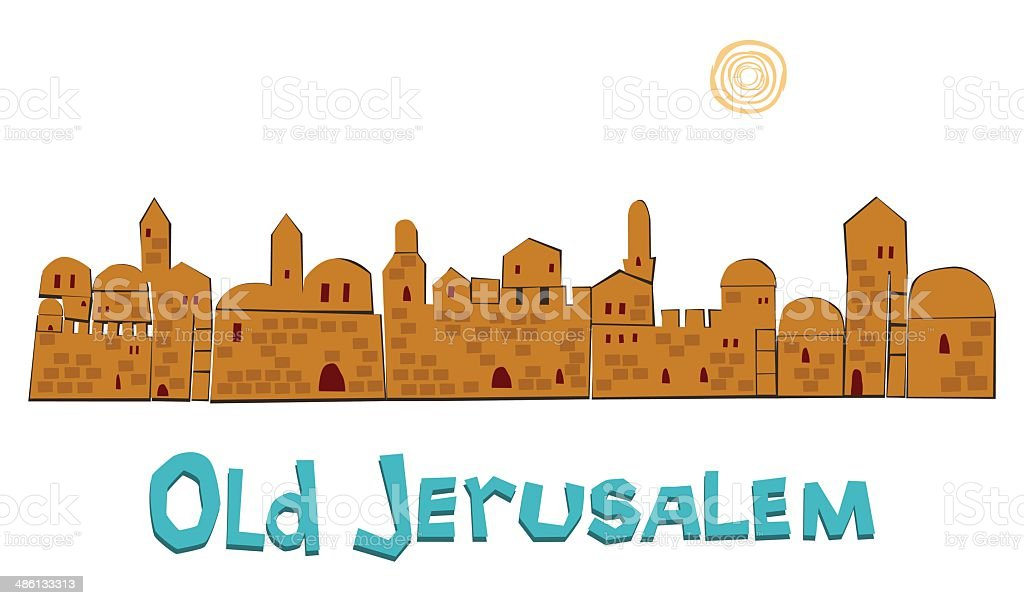 Old Jerusalem In Summer, Illustration royalty-free stock vector art