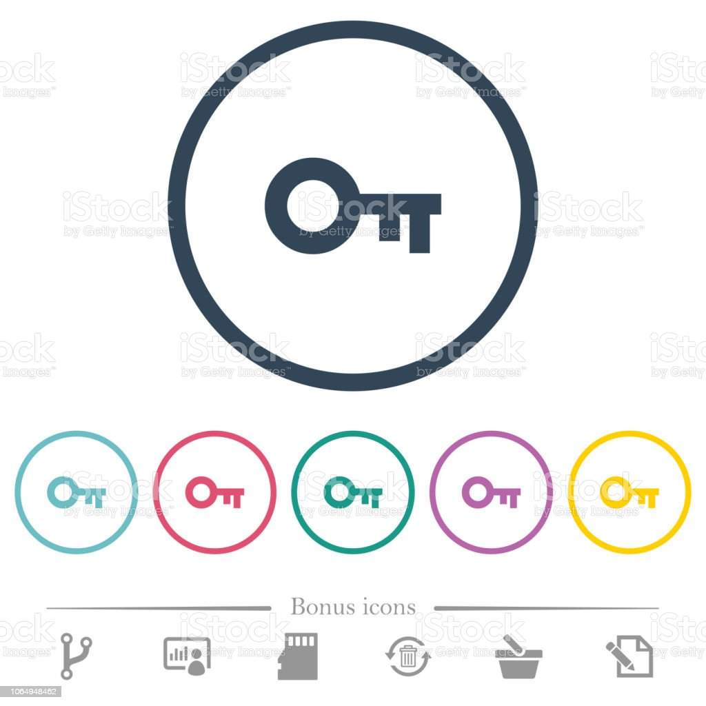 Old key flat color icons in round outlines