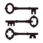 Old key silhouette set