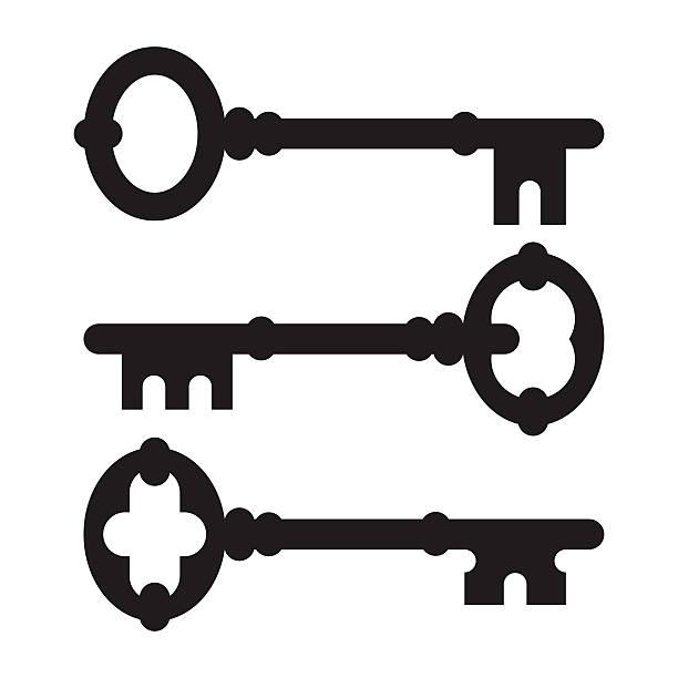 old key silhouette set - keys stock illustrations, clip art, cartoons, & icons