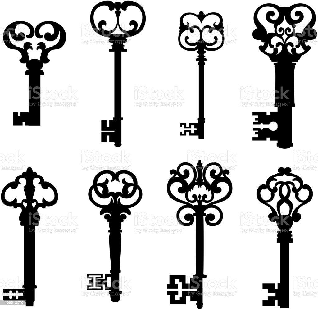 Vector Key Illustration: Old Keys Set In Retro Style Stock Illustration