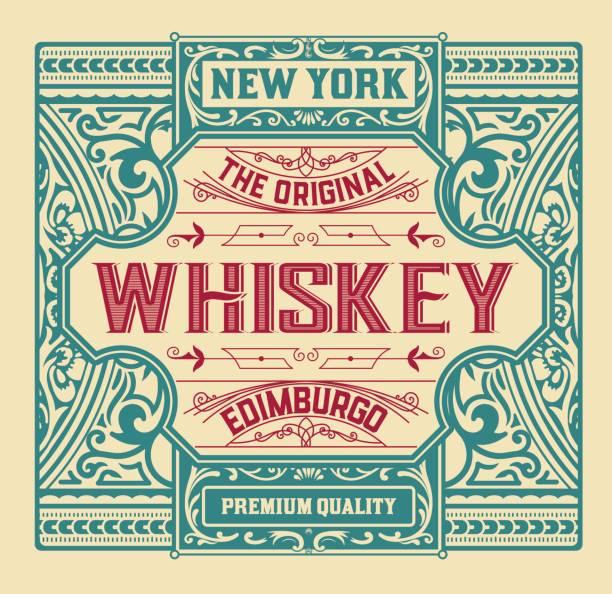 old  label design for whiskey and wine label, restaurant banner, beer label. vector illustration - alcohol drink borders stock illustrations