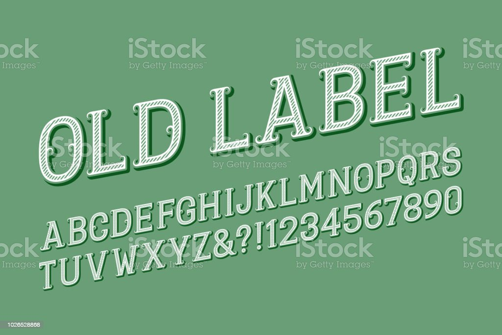 Old Label Letters And Numbers With Curly Serifs Isolated English