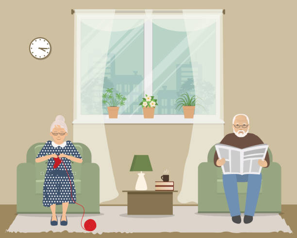 old lady and old man are sitting in armchairs on a window background - old man sitting backgrounds stock illustrations, clip art, cartoons, & icons
