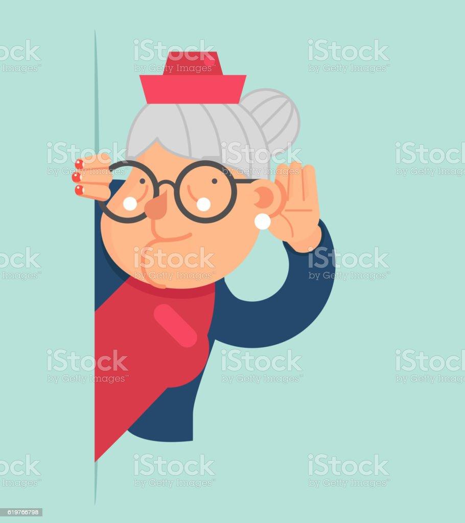 Old Lady Gossip Listen Overhear Spy Out Corner Adult Cartoon - ilustración de arte vectorial