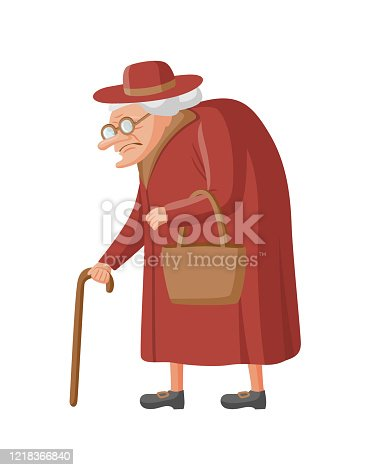 Old lady in a coat and hat. Senior woman with glasses, cane and bag. Vector illustration, isolated on white background