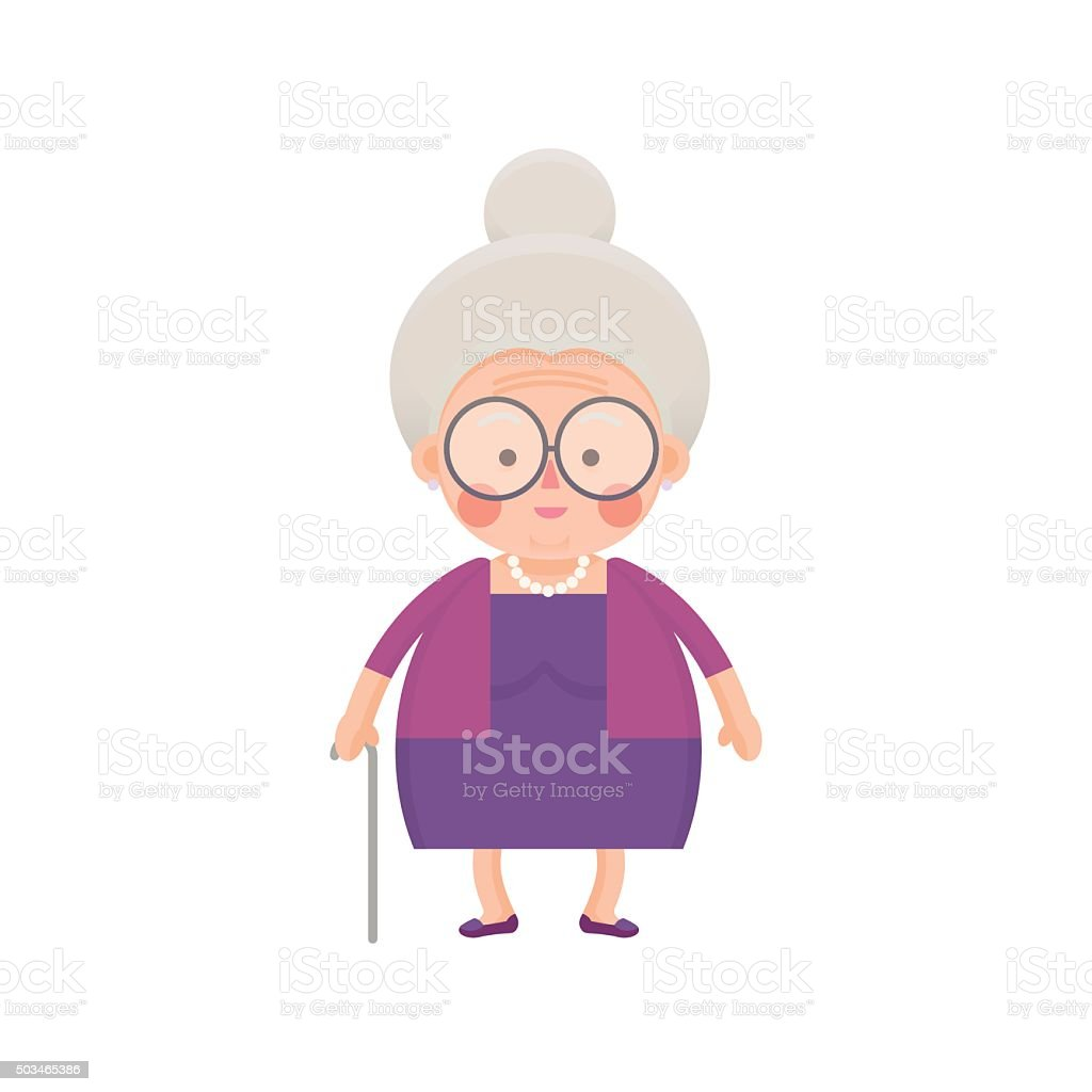 Old Lady In Purple Dress with Walking Stick vector art illustration