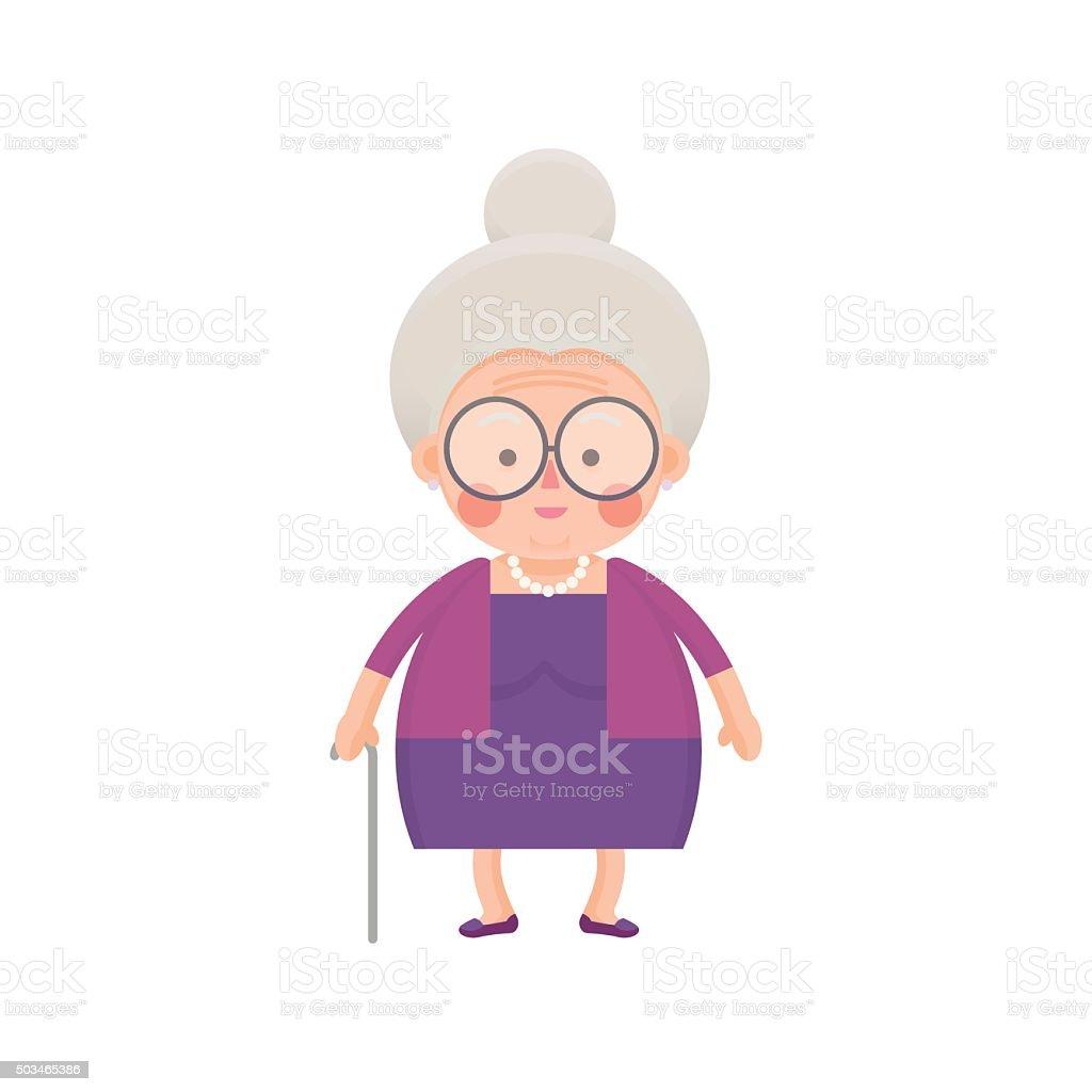 Old Lady en vestido morado con pasos de memoria - ilustración de arte vectorial