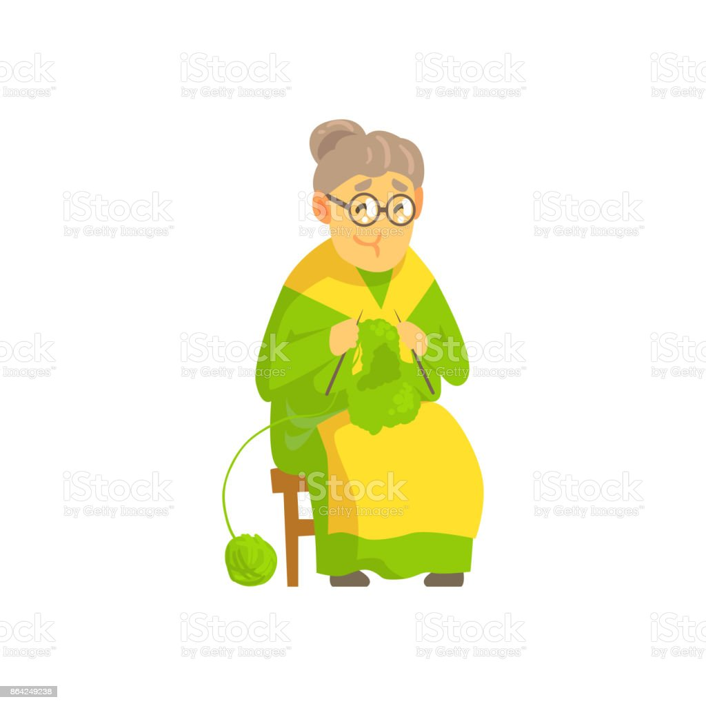 Old lady knitting wool product royalty-free old lady knitting wool product stock vector art & more images of adult