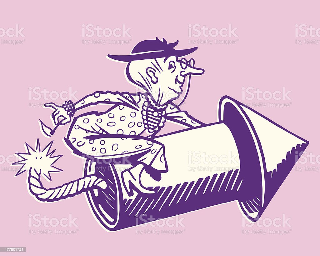 Old Lady Riding a Firecracker royalty-free stock vector art