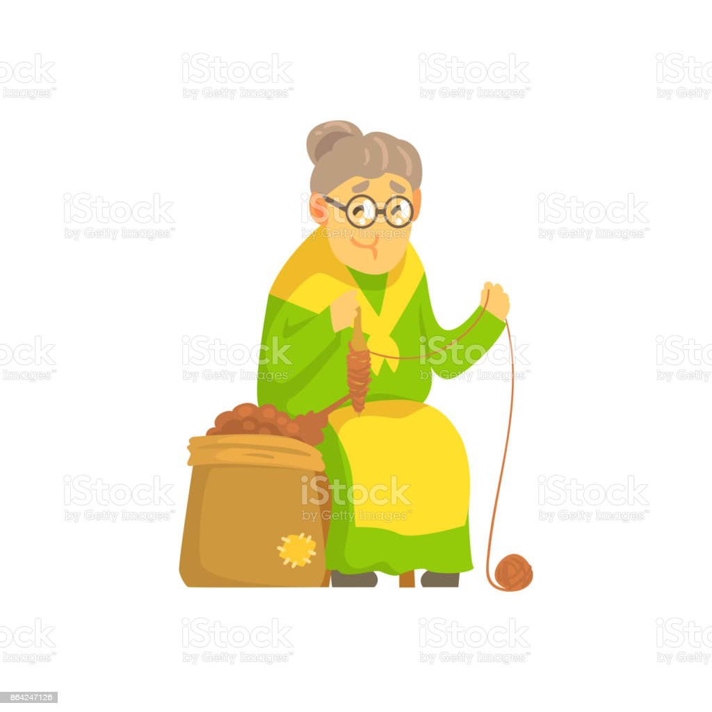 Old lady spinning ball of wool royalty-free old lady spinning ball of wool stock vector art & more images of adult