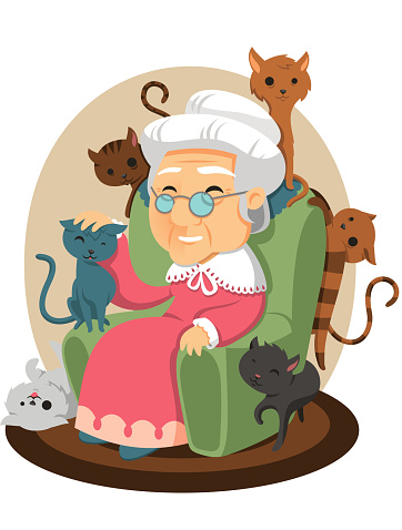 old lady with cats all over