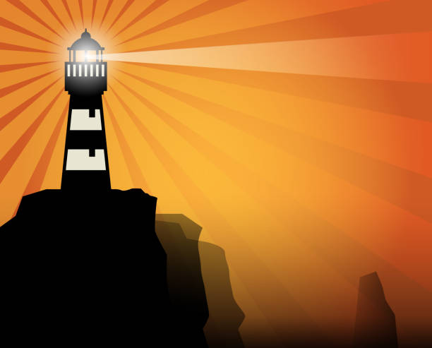 illustrations, cliparts, dessins animés et icônes de vieux phare est situé sur les rochers - phare