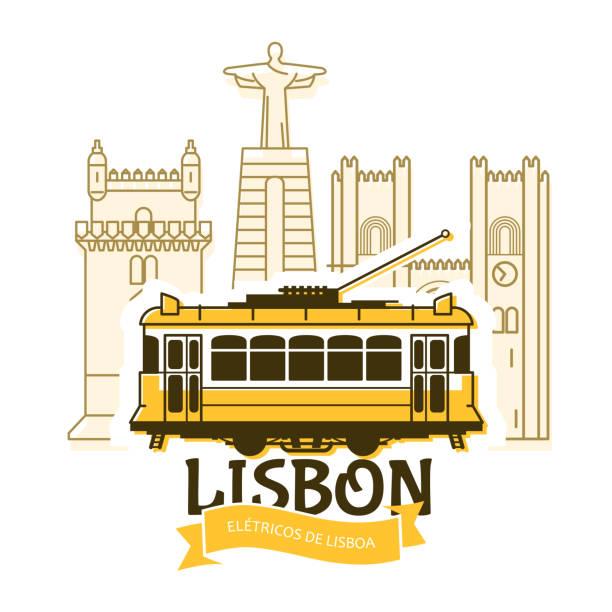 ilustrações de stock, clip art, desenhos animados e ícones de old lisbon tram and cityscape of city, portugal landmarks, tramway in lisbon - eletrico lisboa