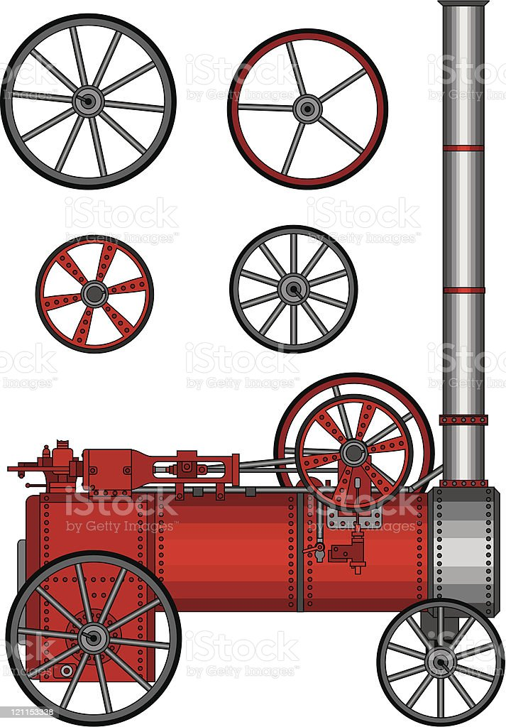 Old locomotive steam train engine with wheels royalty-free stock vector art