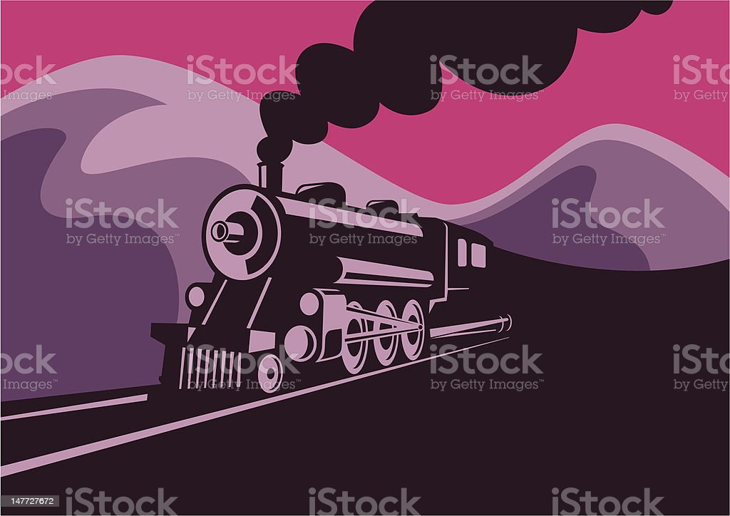 Old locomotive. vector art illustration