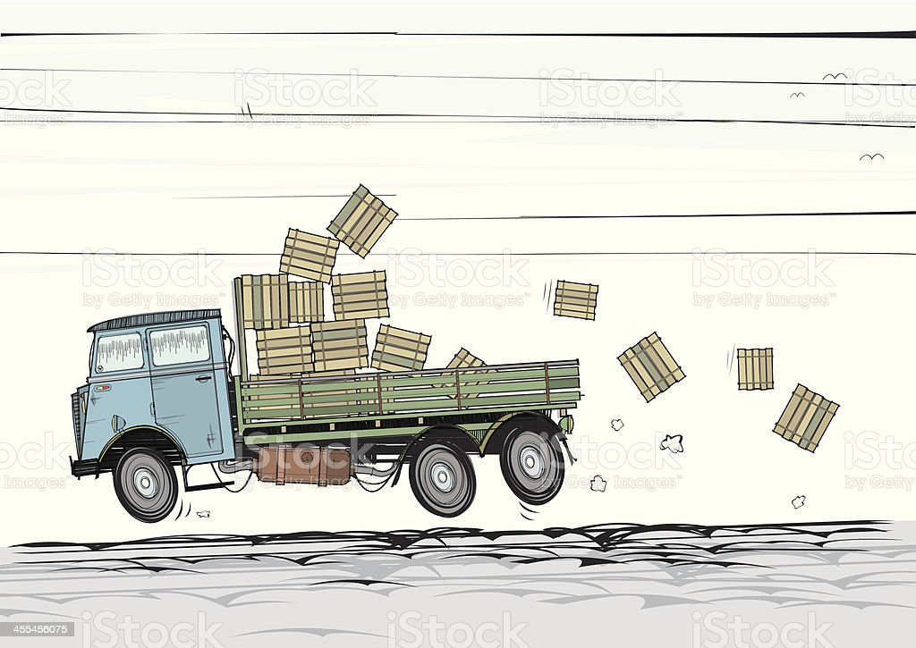 Old Lorry with Tumbling Crates vector art illustration