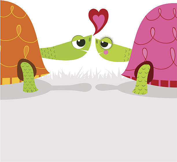 old love. tortoise cartoon - old man kissing stock illustrations, clip art, cartoons, & icons