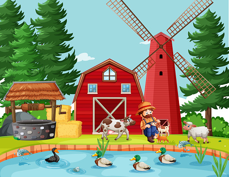 Old MacDonald in the farm with barn and windmill scene