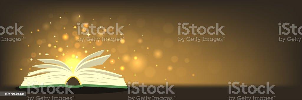 Alten Zauberbuch mit magischen Lichtern auf horizontale Banner mit Platz für Ihren text – Vektorgrafik