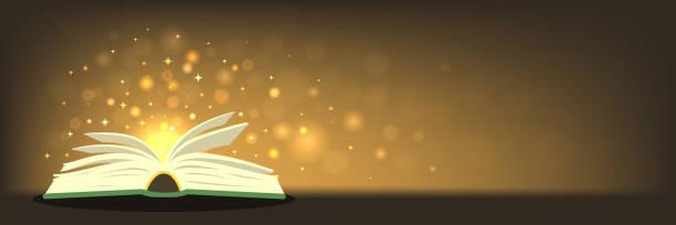 alten zauberbuch mit magischen lichtern auf horizontale banner mit platz für ihren text - geistergeschichten stock-grafiken, -clipart, -cartoons und -symbole