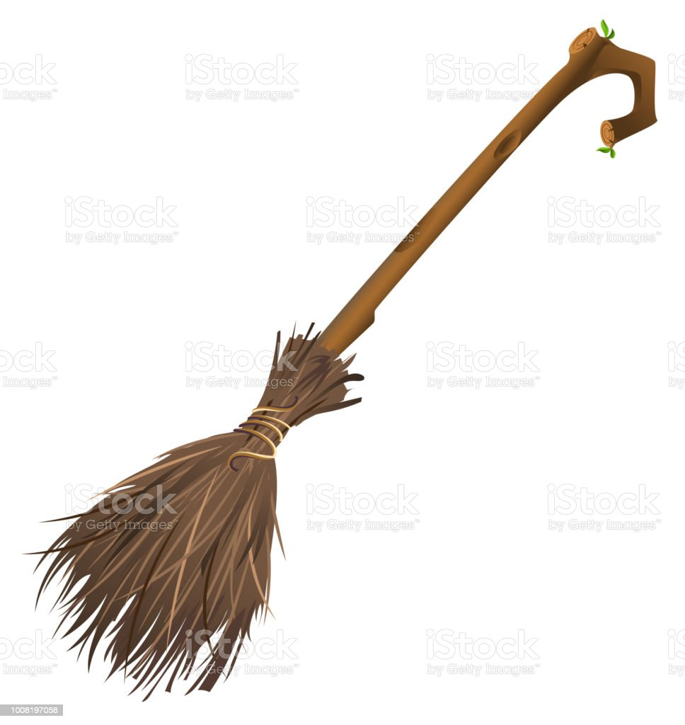 Old magic broom on which witch flies vector art illustration
