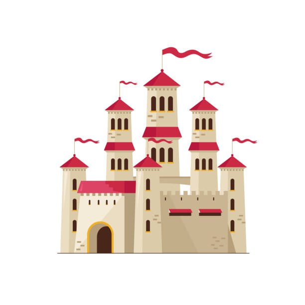old magical castle on white - castle stock illustrations