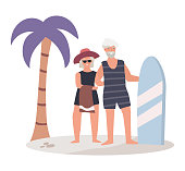 Old male and female traveling in tropical island with palm tree do surfing vector illustration white background. Older people exercises, activities elderly character. Simple flat style. Travel vacation time
