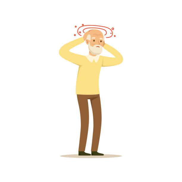 Old Male Character Migraine Headache Colourful Toon Cute Illustration vector art illustration