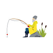 A old male fisherman catches fish and goes fishing. Old man fishing with a fishing rod. Isolated vector flat illustration of a fisherman.