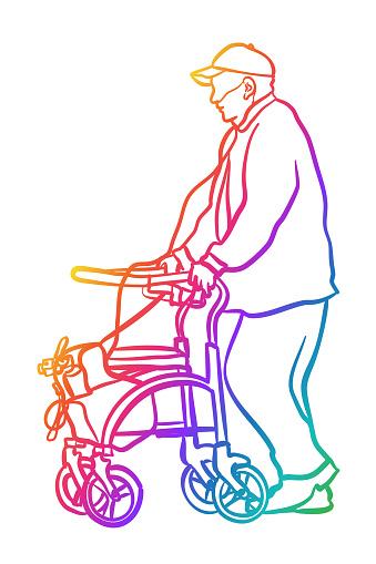 Old Man 70s Walker Rainbow