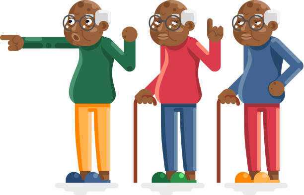 old man african american european adult grandfather characters isolated set flat design vector illustration - old man slippers stock illustrations, clip art, cartoons, & icons