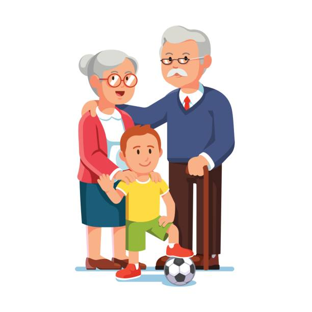 ilustraciones, imágenes clip art, dibujos animados e iconos de stock de anciano y anciana de pie con niño pequeño - nietos