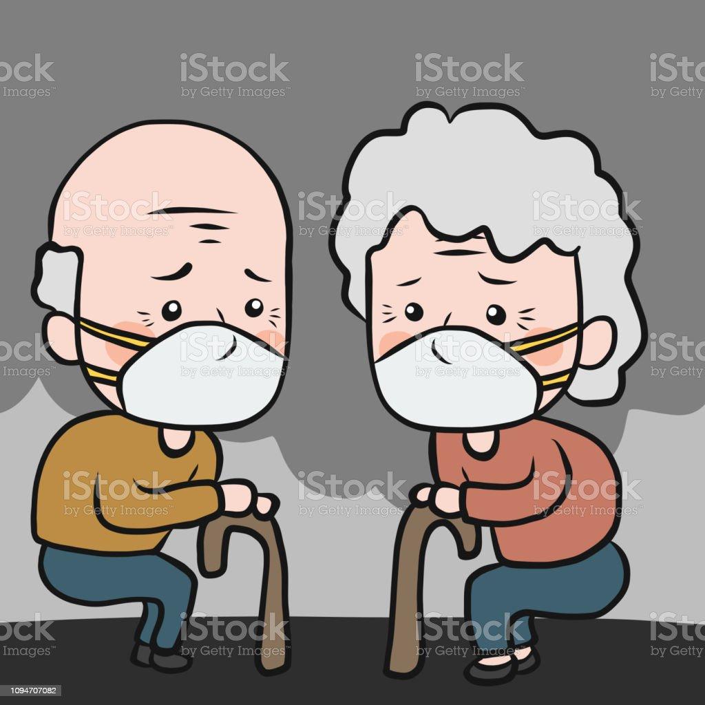 Ilustración De Anciano Y Anciana Llevar Ilustración De Vector De