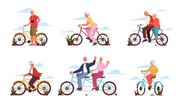 Old man and woman riding their colorful bicycle. Active outdoor life style for elderly people. vector art illustration