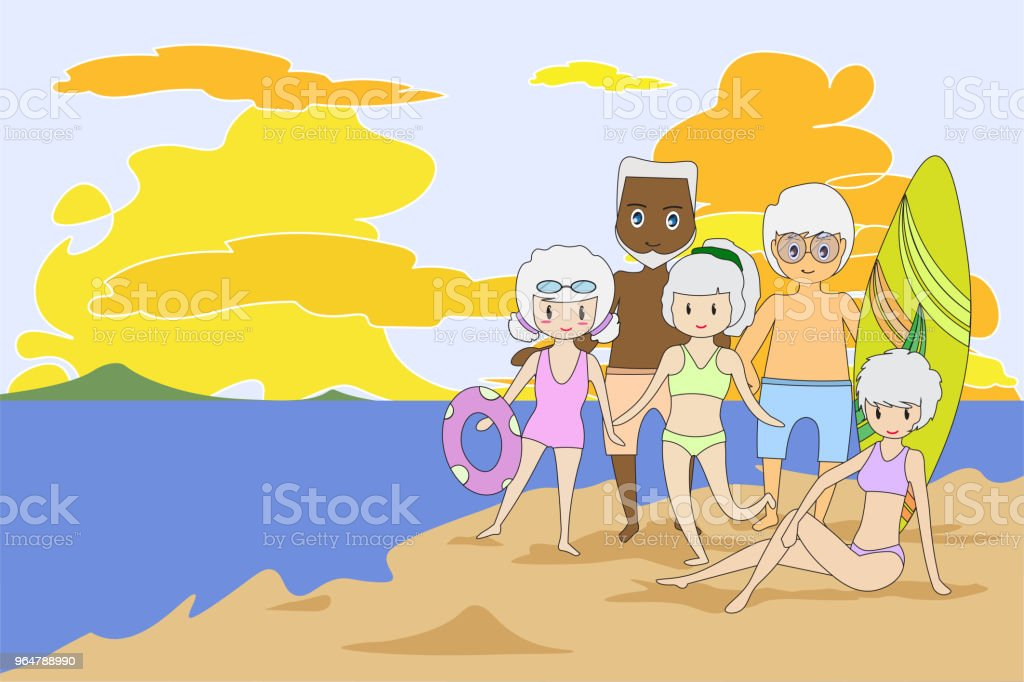 Old man and woman, strong body doing outdoor activities. Wear a swimsuit on the beach, such as playing surfboard and sunbathe. Flat cartoon and concept of activities elderly people. -EPS10 royalty-free old man and woman strong body doing outdoor activities wear a swimsuit on the beach such as playing surfboard and sunbathe flat cartoon and concept of activities elderly people eps10 stock vector art & more images of activity