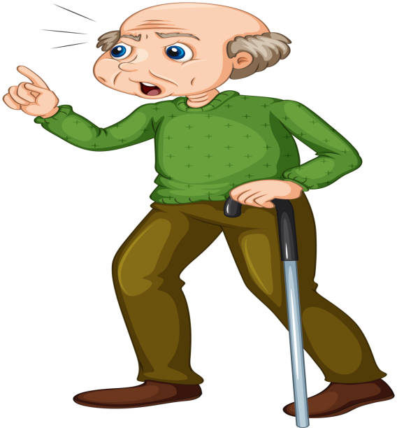 old man angry face - old man standing background stock illustrations, clip art, cartoons, & icons